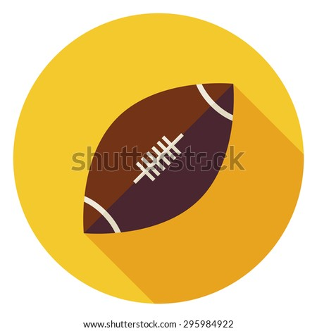 Ball American Football. Back to School and Education Vector illustration. Flat Style Colorful Sports Item Circle Icon with Long Shadow. Leisure and Activity. Team Sport and Fitness. Physical Education - stock vector