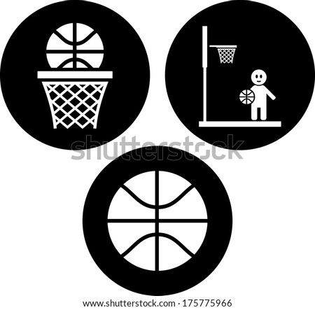 Ball and basket. Basketball vector icon isolated - stock vector