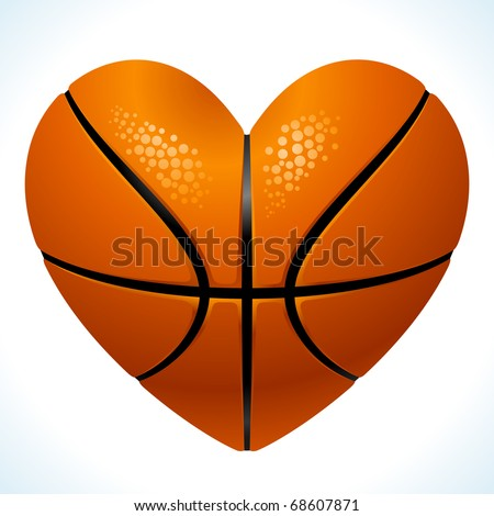 Ball for basketball in the shape of heart - stock vector