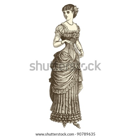 "Ball gown - Vintage engraved illustration - ""La mode illustree"" by Firmin-Didot et Cie in 1882 France - stock vector"