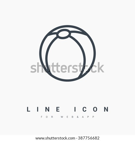 Ball isolated minimal single flat icon. Toy line vector icon for websites and mobile minimalistic flat design. - stock vector