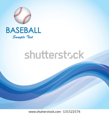 Ball of baseball over blue wave over blue background vector illustration - stock vector