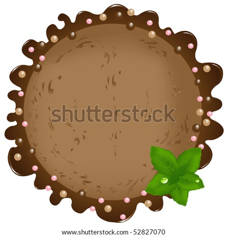 Ball Of Chocolate Ice-Cream Ball With Mint Leaves And Syrup, Isolated On White