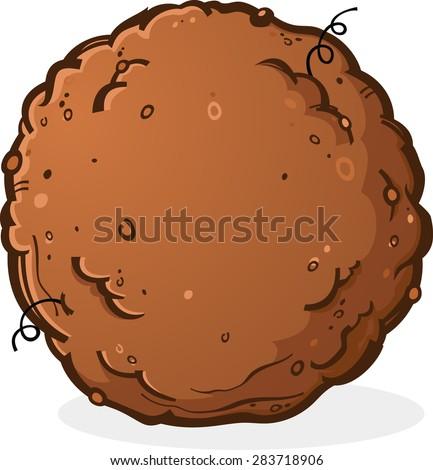 Ball of Dirt or Poop Cartoon Illustration - stock vector