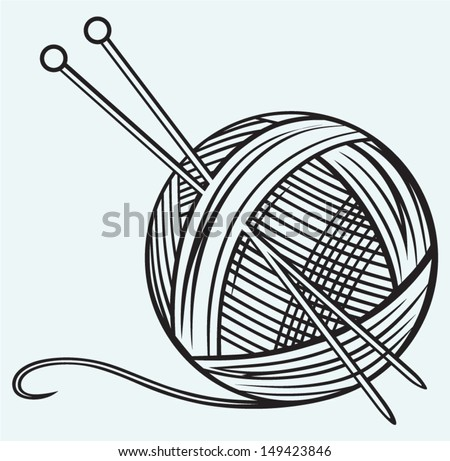 Ball of yarn and needles isolated on blue background - stock vector