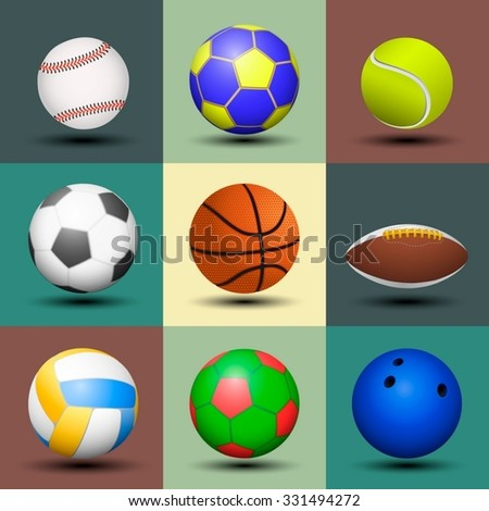 Ball set isolated. Vector illustration. - stock vector