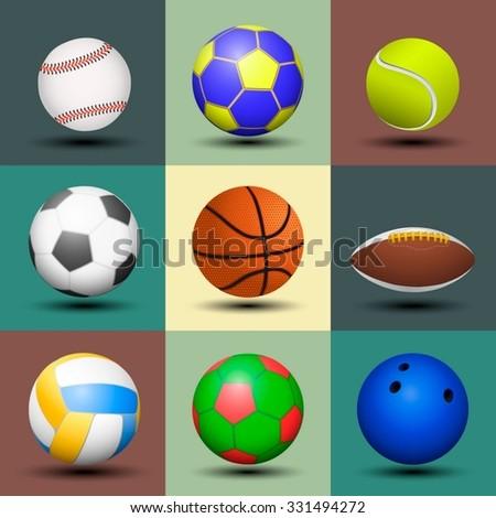 Ball set isolated. Vector illustration. - stock vector