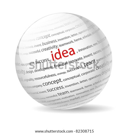Ball with inscription idea, on a white background. Vector. - stock vector
