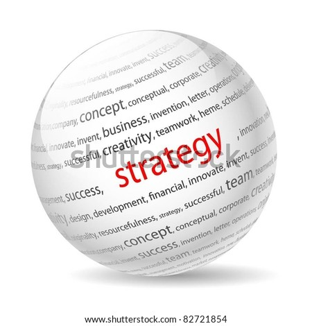 Ball with inscription strategy, on a white background. Vector. - stock vector