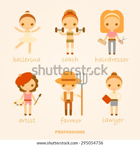 ballerina, coach, hairdresser, artist, farmer and lawyer. Vector illustrations. - stock vector