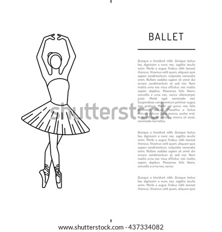Ballerina dancer ballet. Dance positions for teaching ballet. Elements of theater, and ballet. - stock vector