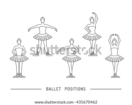 Ballerina in a dance position. Ballerina dancer ballet. Dance positions for teaching ballet. - stock vector