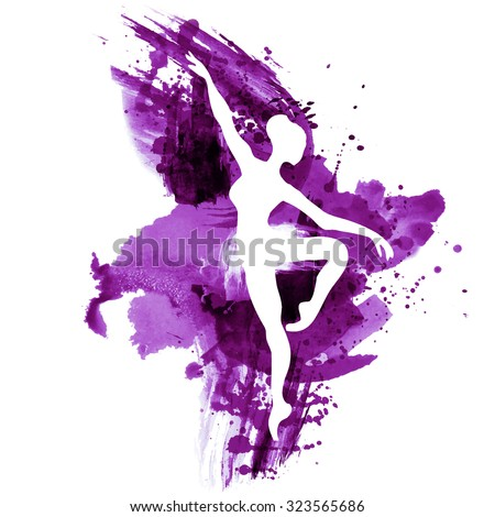 Ballerina in dance. watercolor in red - stock vector