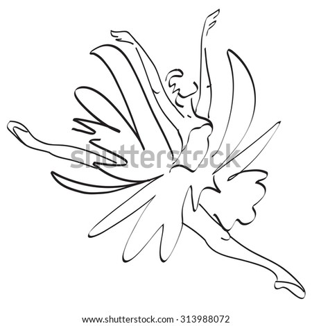 Ballerina jumping. vector in the style of minimalism