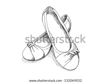 ballerina shoes on white in sketch style - stock vector