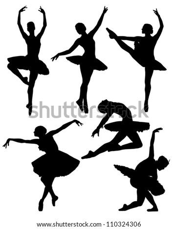 Ballerina silhouette on white background - stock vector