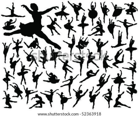 ballerina silhouette-vector - stock vector
