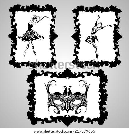 Ballerinas and mask framed vector - stock vector