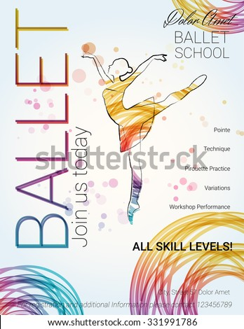 Ballet background. Flyer, brochure, invitation, ticket, poster or greeting card design template with beautiful ballet dancer figure. Vector illustration.  - stock vector