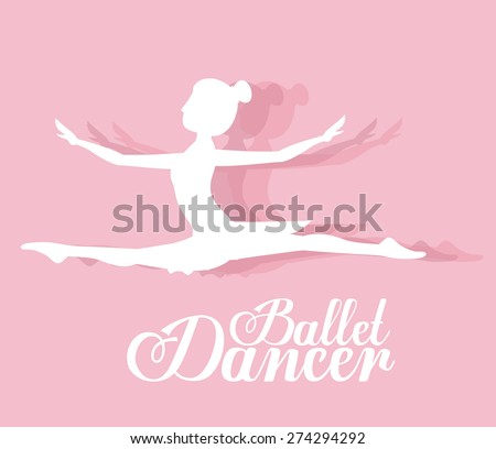 Ballet dancer design over pink background, vector illustration - stock vector