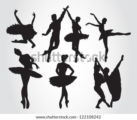 Ballet dancers - stock vector