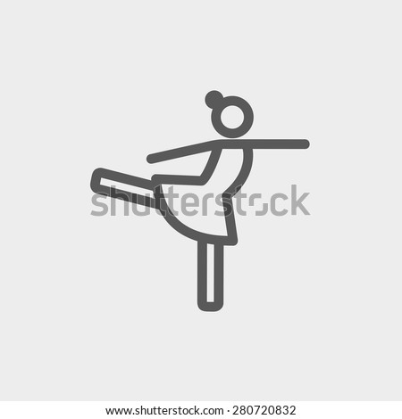 Ballet dancing icon thin line for web and mobile, modern minimalistic flat design. Vector dark grey icon on light grey background. - stock vector