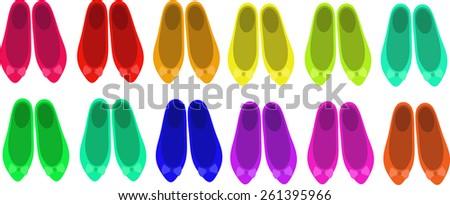 ballet flats shoes  women's shoes  children's shoes beautiful shoes fashionable shoes stylish shoes vector - stock vector