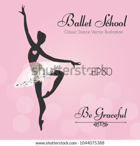 Ballet School Flyer Template Ballerina Silhouette Stock Vector ...