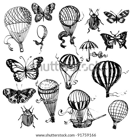 Balloon and butterfly set in retro style - stock vector