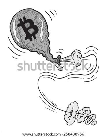 Balloon Bitcoin Deflate Pop Sketch Line Art Illustration Vector  - stock vector