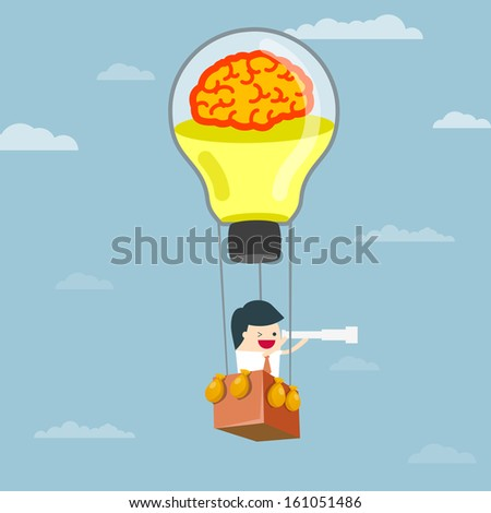 Balloon brain. The creative business vision. Creativity makes. Business vision forward. Vision Business, businessman look The future. businessman using binoculars. Vision of Business, vector - stock vector