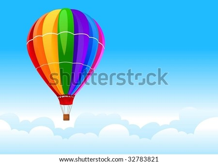 balloon in sky - stock vector