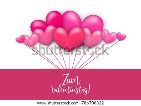 Happy Valentines Day   Zum Valentinstag German Language. Realistic 3d Heart  Romantic