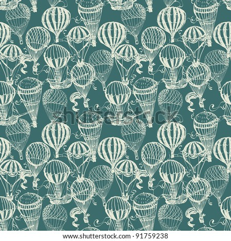 Balloon seamless pattern in retro style - stock vector