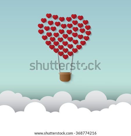 balloon small hearts and a love - stock vector