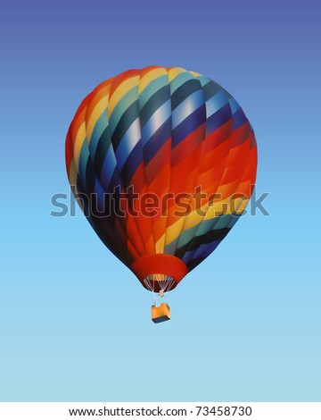 balloon with a basket on vone blue sky