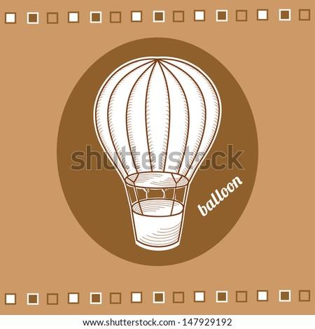 balloon with a basket, vector illustration - stock vector