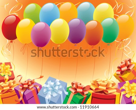 Balloons and presents for birthday and party