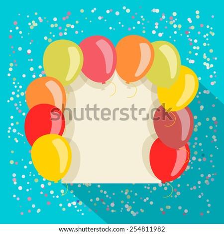 balloons card in retro style - stock vector