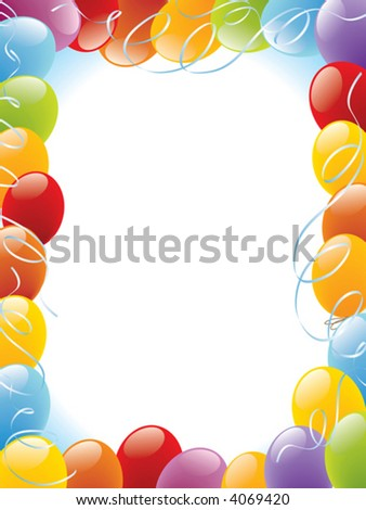 Balloons frame decoration ready for posters and cards