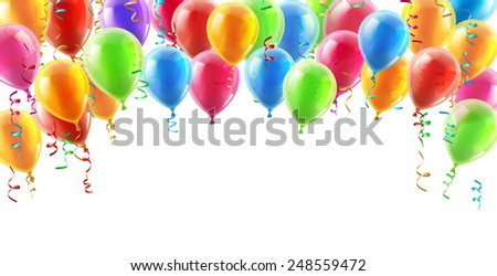 Balloons header background design element of birthday or party balloons - stock vector