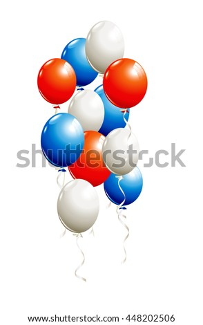 Balloons in red, blue, white isolated on white