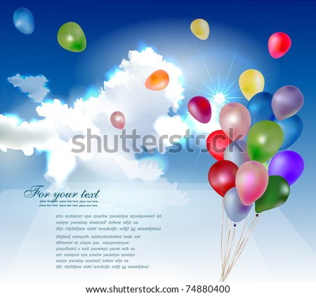 balloons in the sky - stock vector