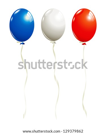 Balloons in white, blue and red - stock vector