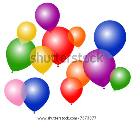 Balloons of different colors flying in the air - VECTOR