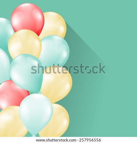 balloons on soft retro background - stock vector