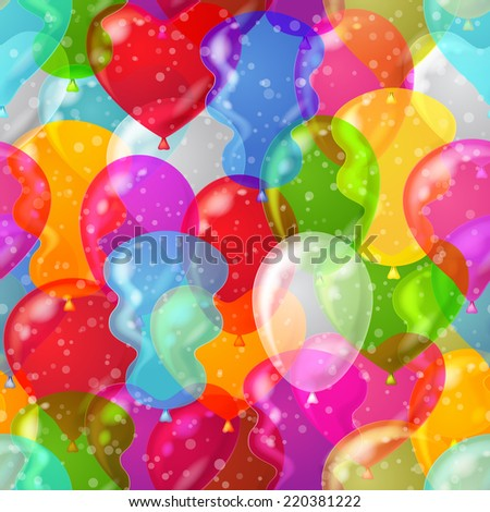 Balloons seamless pattern background, beautiful colorful illustration. Vector eps10, contains transparencies - stock vector