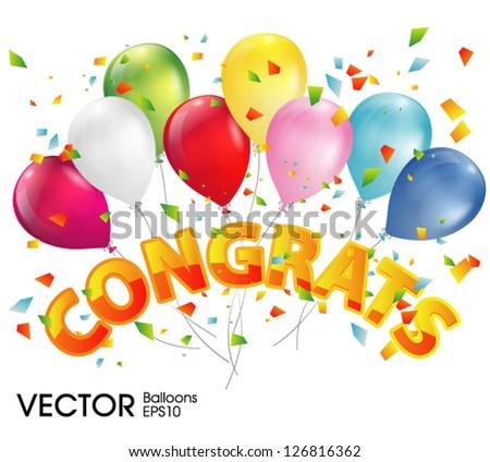 balloons with congratulations - stock vector