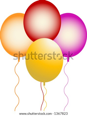 balloons with string - stock vector