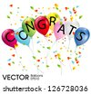 balloons with the word congrats - stock vector